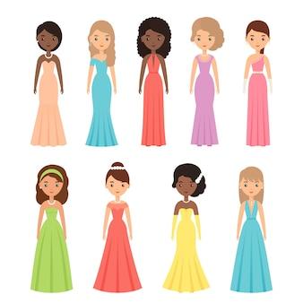 Abendkleider für frauen. illustration. weibliches textil, flaches design.