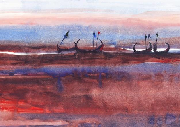 Abendlicht mit aquarellfarbe am flussufer