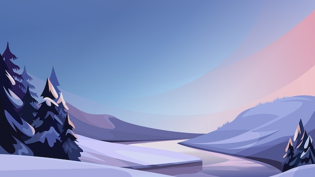 Abends gefrorener fluss. schöne winterlandschaft.