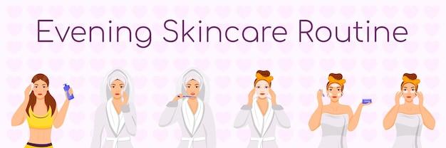 Abends hautpflege routine flache farbe zeichen set illustration