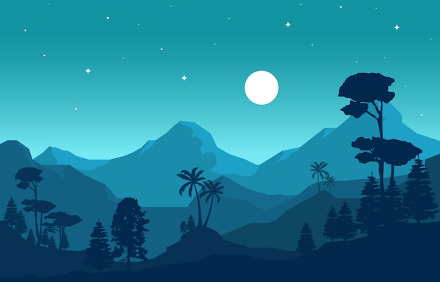 Abends ruhiger bergwald wilde naturlandschaft monochrome illustration