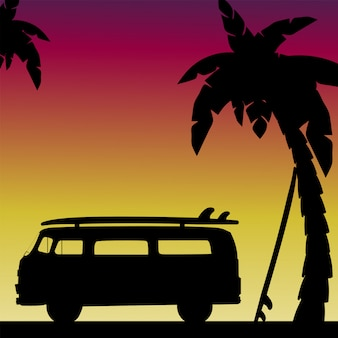 Abendsilhouettenszene am strand mit palmen mit retro-auto und surfbrettern. illustration