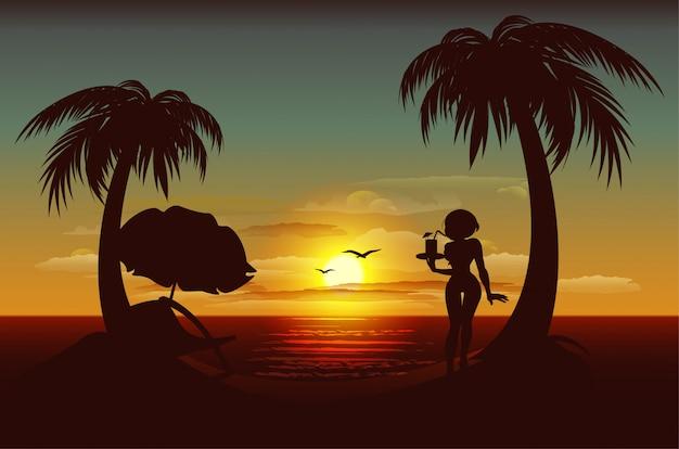 Abendsonnenuntergang auf tropischer insel. meer, palmen, silhouette des mädchens mit getränk