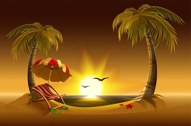 Abendstrand. meer, sonne, palmen und sand. romantische sommerferien