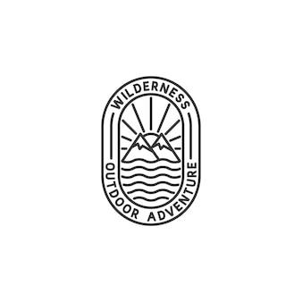Abenteuer-abzeichen-logo im monoline-stil