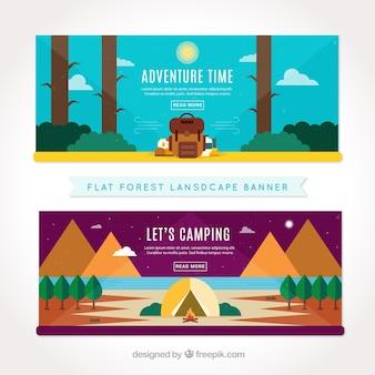 Abenteuer banner in flaches design