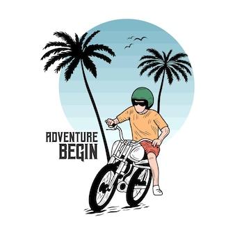 Abenteuer beginnen motorcycle beach typografie für t-shirt-druck mit palmbeach und motorrad