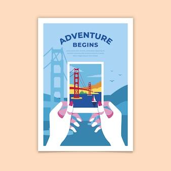 Abenteuer beginnt buntes plakat
