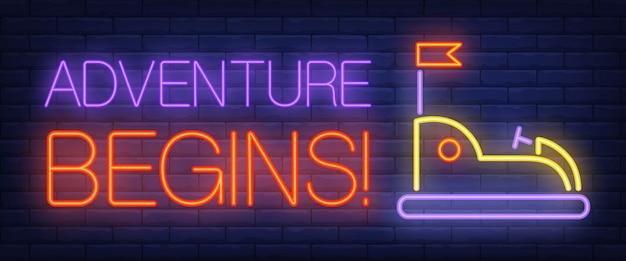 Abenteuer beginnt neon-text mit autoscooter