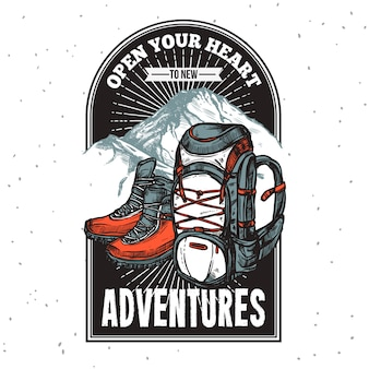 Abenteuer-beschriftungs-emblem-druck