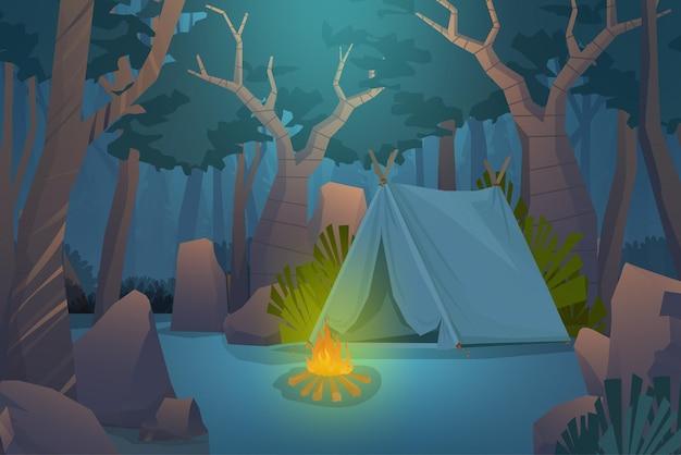 Abenteuer camping abend szene. zelt mit lagerfeuer-, felsen- und holzwaldhintergrund, landschaftskarikaturillustration