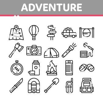 Abenteuer collection elements icons set