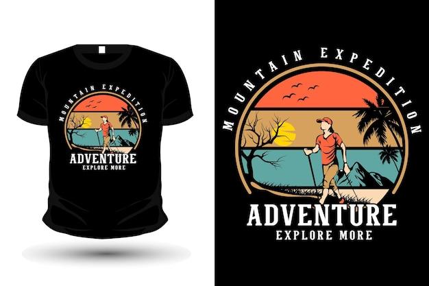 Abenteuer entdecken sie mehr warenillustrations-t-shirt-vorlagendesign