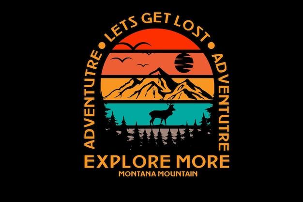 Abenteuer erkunden sie mehr montana mountain farbe rot orange und grün Premium Vektoren