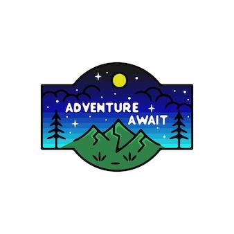 Abenteuer erwarten in der nacht monoline abzeichen
