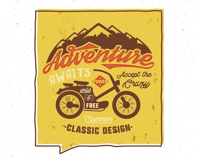 Abenteuer erwartet inspirierendes kreatives plakat.