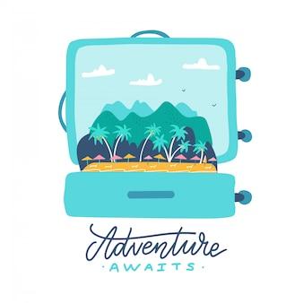 Abenteuer erwartet - schriftzug zitat. offener reisekoffer mit tropischer insel, palmen, sonnenschirmen und bergen im inneren. flache illustration.