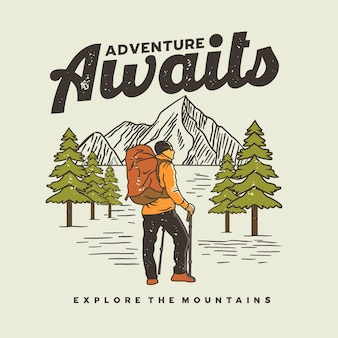 Abenteuer erwartet t-shirt grafik illustration