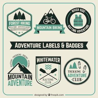 Abenteuer etikette und abzeichen