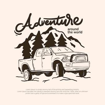 Abenteuer-fahrzeug-auto im freien, das zu forest mountain river reist