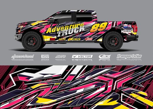 Abenteuer fahrzeug wrap illustration