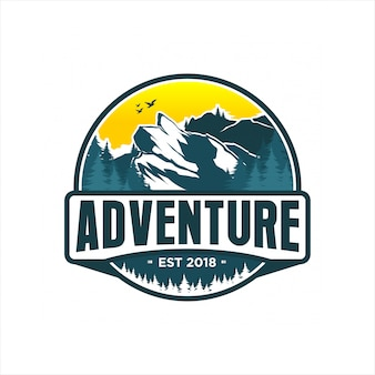 Abenteuer gebirgslogoentwurf