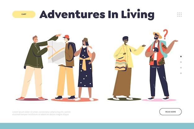 Abenteuer im lebendigen konzept der landing page