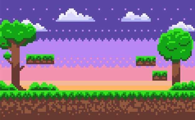 Abenteuer-karte, pixel-spiel, grüner natur-vektor