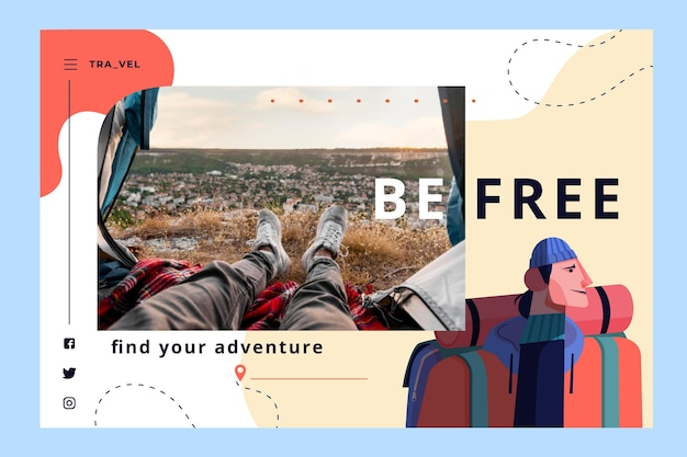 Abenteuer-landing-page-vorlage mit foto