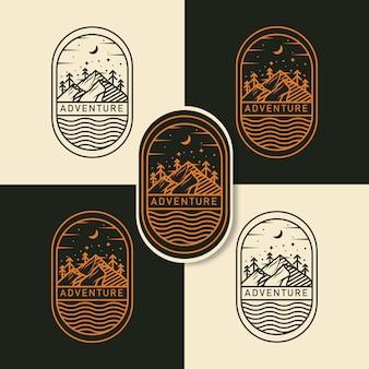 Abenteuer-logo mit strichzeichnungen