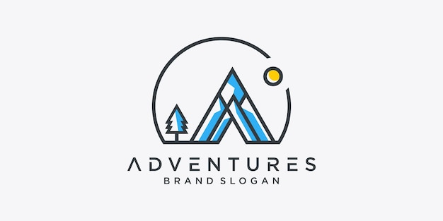 Abenteuer logo vorlage premium-vektor