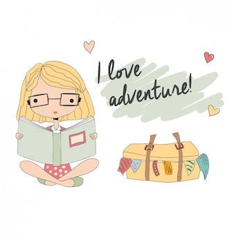 Abenteuer mädchen beim lesen