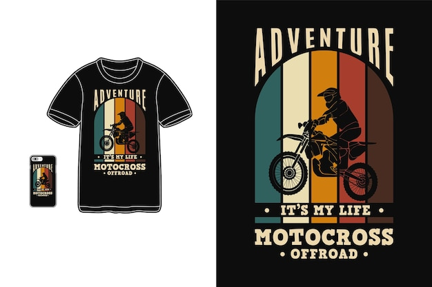 Abenteuer motocross offroad, t-shirt design silhouette retro-stil