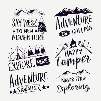 Abenteuer nennt schriftzug sammlung