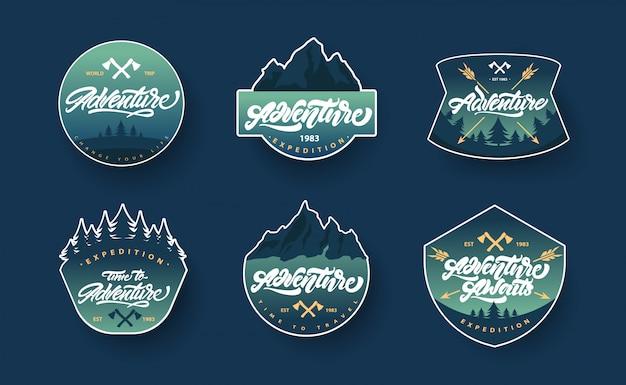 Abenteuer schriftzug set logos oder embleme mit farbverlauf