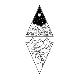 Abenteuer tatto monoline vintage design