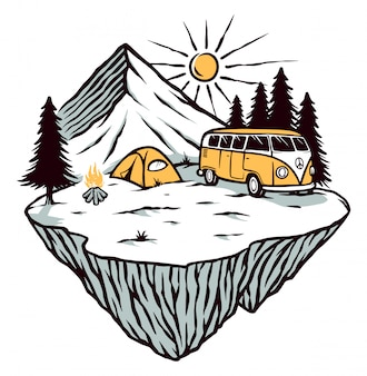 Abenteuer- und campingillustration