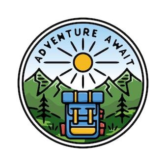 Abenteuer warten mit tasche monoline abzeichen