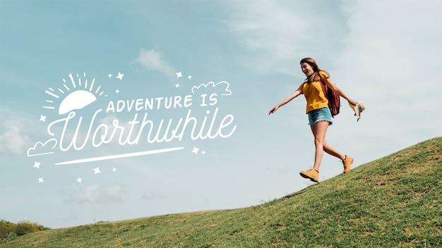 Abenteuer zitat mit foto