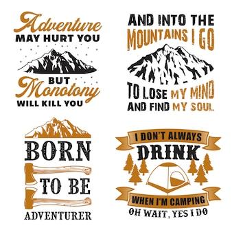Abenteuer-zitat und sagen-set