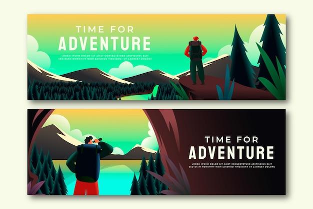 Abenteuerbanner mit farbverlauf und foto banner