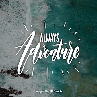 Abenteuerbeschriftung mit foto
