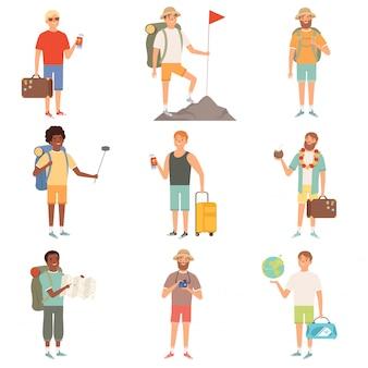 Abenteuerleute. männliche rucksacktouristen im freien erkunden die karikaturillustrationen der glücklichen reisenden der natur