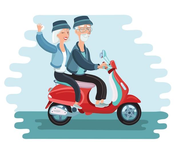 Abenteuerlustiges reifes paar, das einen roller reitet