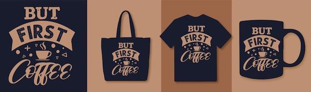 Aber die erste kaffee-typografie zitiert farbenfrohes design