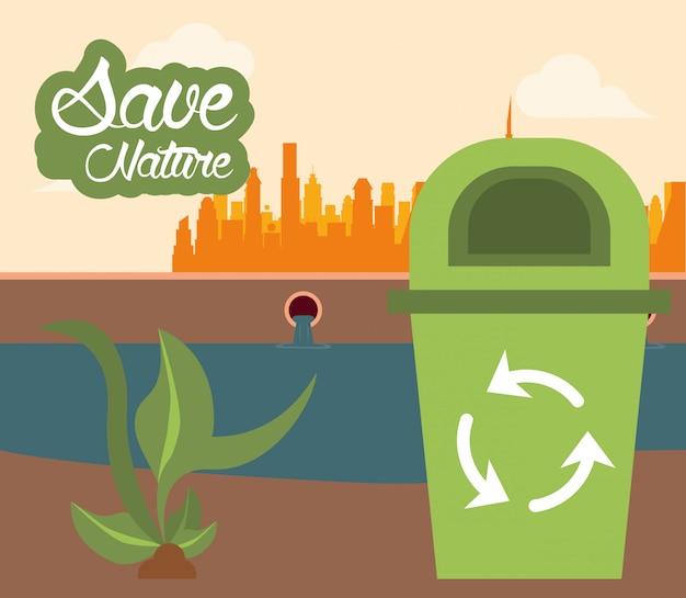 Abfallbehälter mit recyclingpfeilkarte