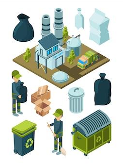 Abfallrecycling isometrisch. müll müll sortieren plastikbehälter entsorgung müllwagen symbole
