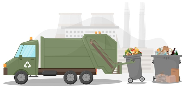 Abfallsammel- und transportfahrzeug müllabfuhr müllcontainer kisten und säcke abfallrecycling- und entsorgungsanlage illustration in flacher stilillustration