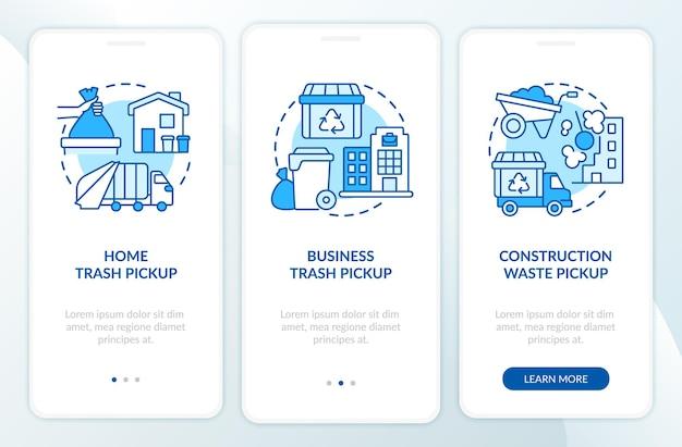 Abfallsammlung und abholung blauer onboarding-seitenbildschirm der mobilen app. walkthrough zum papierkorbmanagement in 3 schritten mit grafischen anweisungen und konzepten. ui-, ux-, gui-vektorvorlage mit linearen farbillustrationen