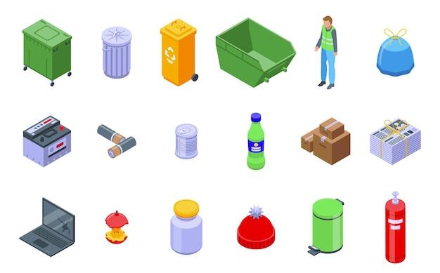 Abfallset. isometrischer satz von abfall für webdesign lokalisiert auf weißem hintergrund
